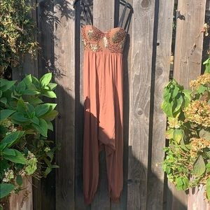 Strappy jumpsuit with sequin bust